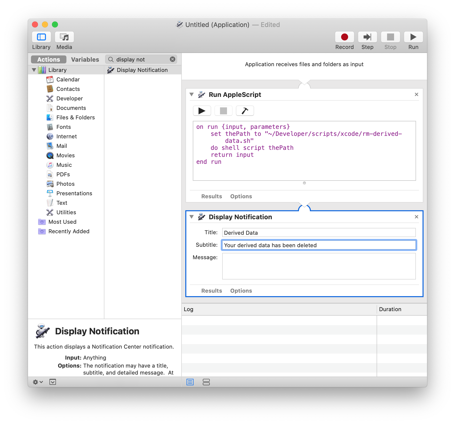 Select Application in Automator